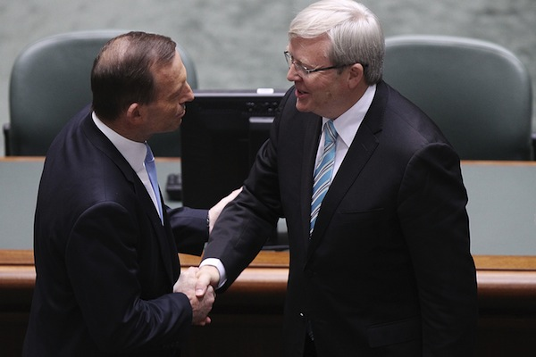 Tony Abbott and Kevin Rudd. Photo: Getty Images.