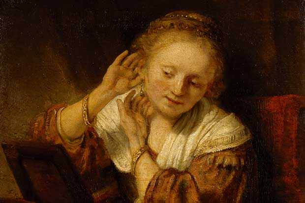 Young woman trying on earrings 1657, Rembrandt Harmensz van Rijn (Dutch 1606–1669) The State Hermitage Museum, St Petersburg (Acquired, 1781 from the collection of the 'Comte' de Baudouin, Paris)