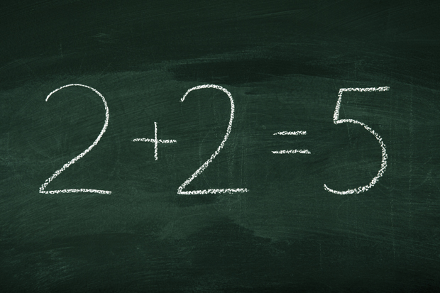 Math mistake on green chalkboard depicting two plus two