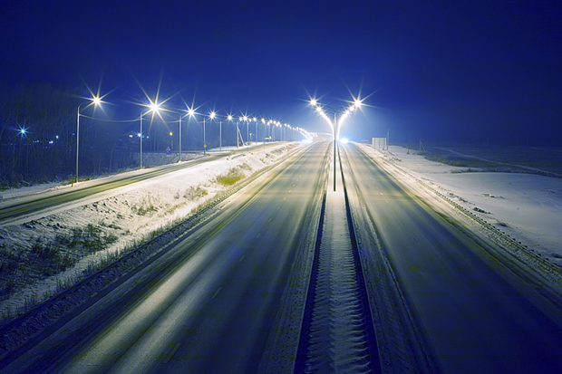winter highway at night