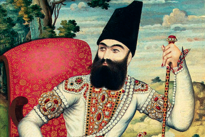 Portrait of Persia's Prince Abbas Mirza c. 1820. From his bailiwick near the Russian border he dispatched educational missions to Europe, sponsored translations of key European works and imported metal casting techniques and the printing press