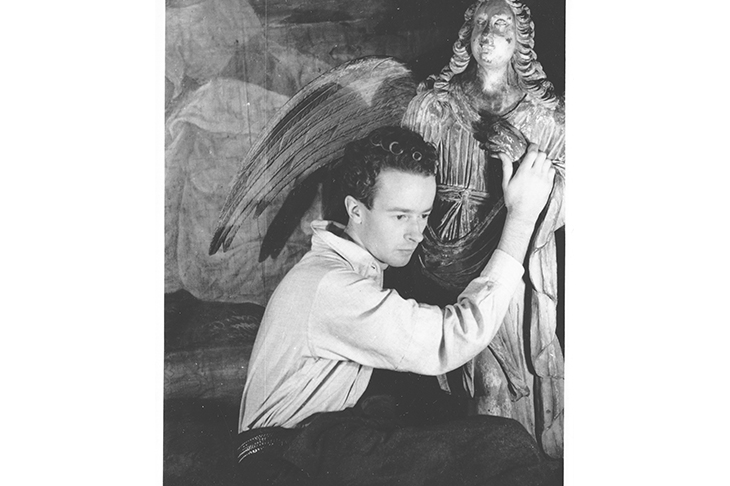 Denton Welch with baroque angel at Hadlow Road, Tonbridge, 1937